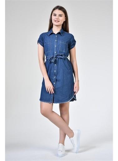 Rodi Jeans Kadın Denim Eteği Püsküllü Kısa Kol Tunik Elbise DS21YB255641 Mavi